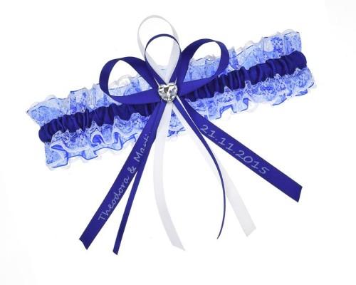 Jarretière bleue en dentelle et organza personnalisable