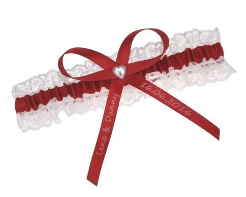 Jarretière rouge et blanche - individualisable