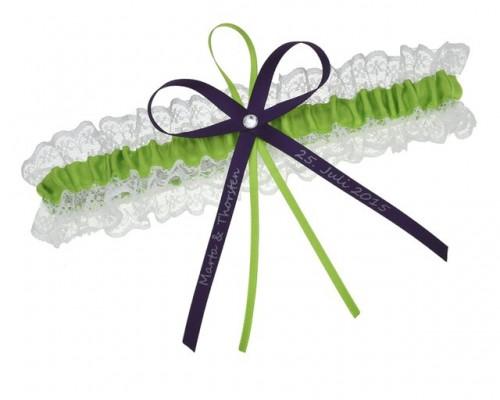 Jarretière verte et violette personnalisable