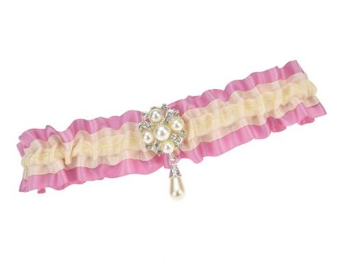 Jarretière de mariée crème et rose avec ornement en perles
