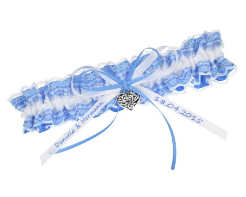 Jarretière bleue vichy individualisable