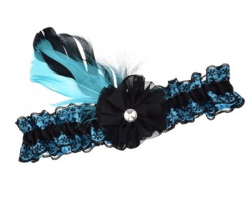 Jarretière noire et turquoise avec plume