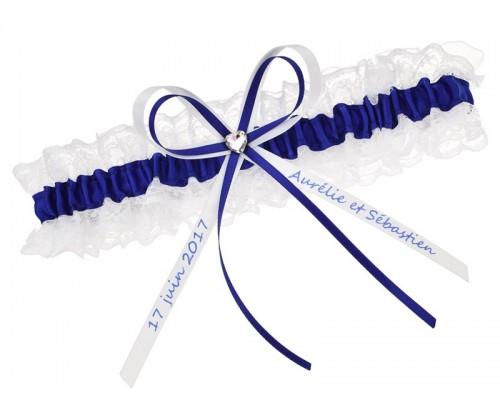 Jarretière bleu nuit avec coeur en strass - personnalisable