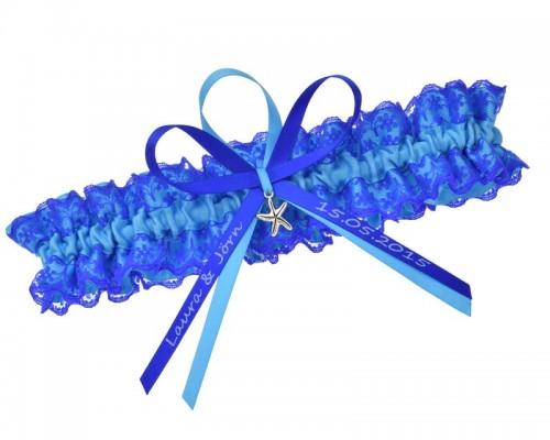 Jarretière bleue personnalisable.