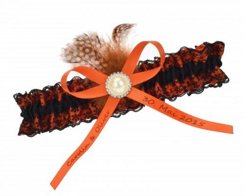 Jarretière orange et noire à plume
