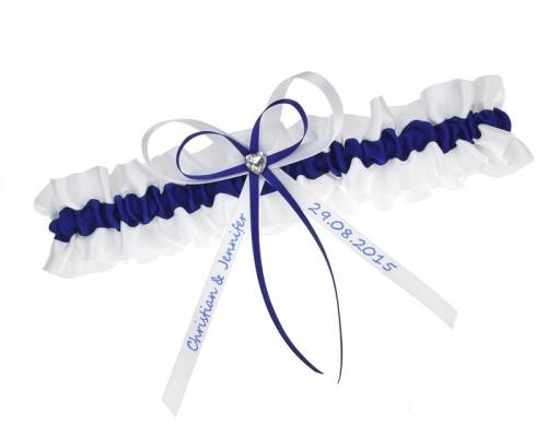 Jarretière blanche et bleu marine personnalisable