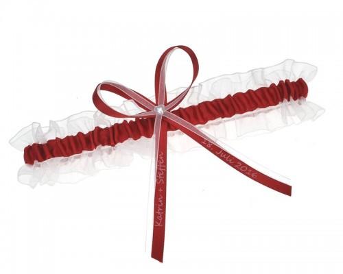 Jarretière blanche et rouge personnalisable
