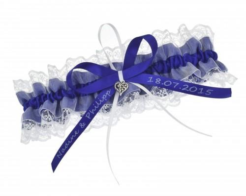 Jarretière bleue avec boucle personnalisable