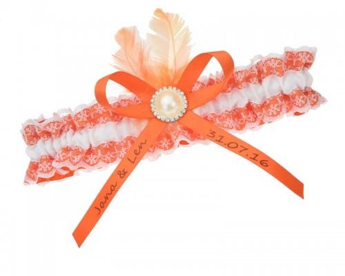 Jarretière blanche et orange avec plume