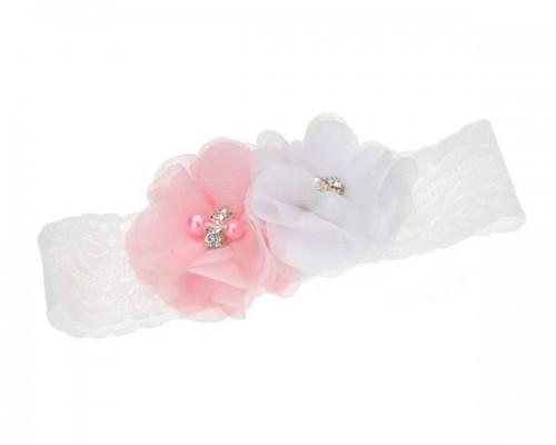 Jarretière romantique en dentelle et fleurs