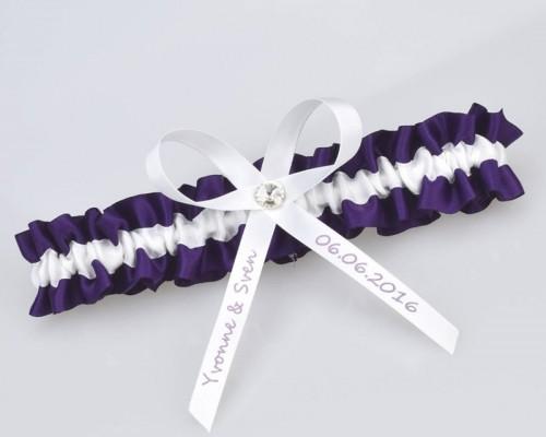 Jarretière violette en satin personnalisable