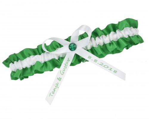 Jarretière verte et blanche personnalisable