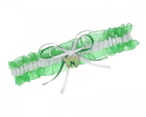 Jarretière organza verte avec papillon