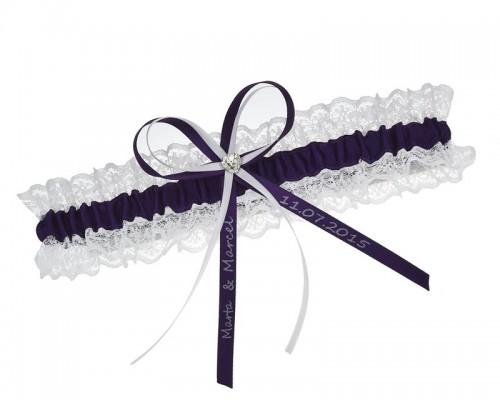 Jarretière de mariée violet foncé personnalisable