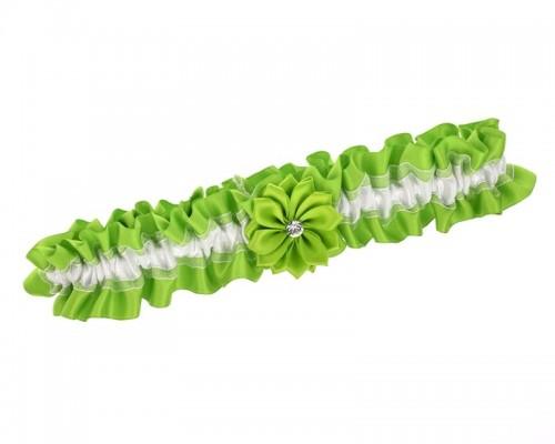 Jarretière de mariage verte avec fleur