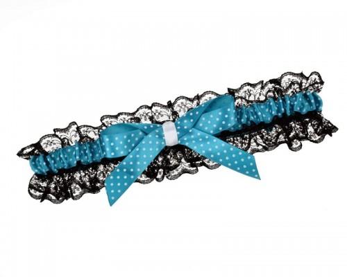 Jarretière noire et bleue style rockabilly