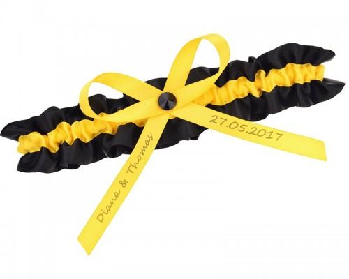 Jarretière jaune et noire personnalisable
